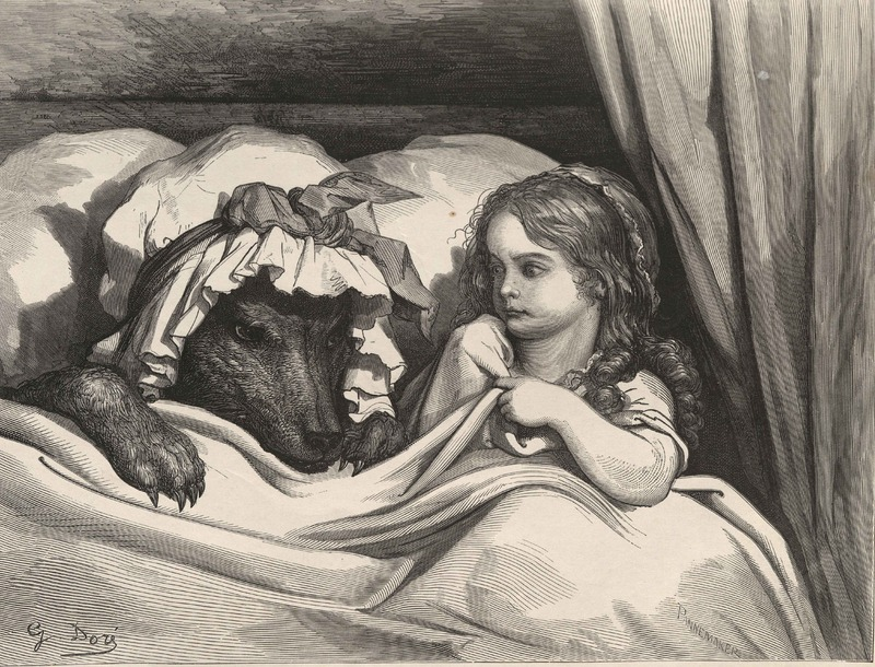Doré's illustration for Perrault's  Le petit chaperon rouge .