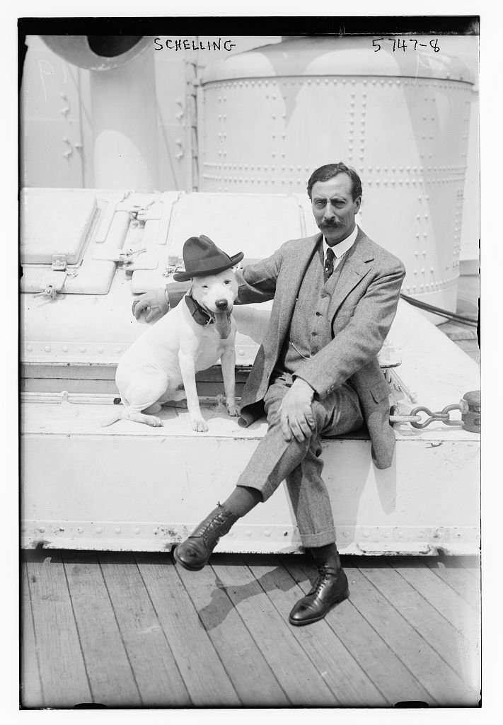 """Uncle"" Ernest Schelling (1876-1939) and his well-dressed dog. He seems to have the sense of humor necessary to appeal to an audience of children. I'd love to write a book on this guy and spend some time in the University of Maryland archive collection."