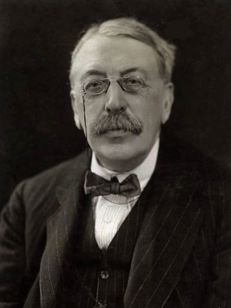 Sir Charles Villiers Stanford (1852–1924) wearing (and pulling it off) a brilliant pair of  pince nez  on a string.