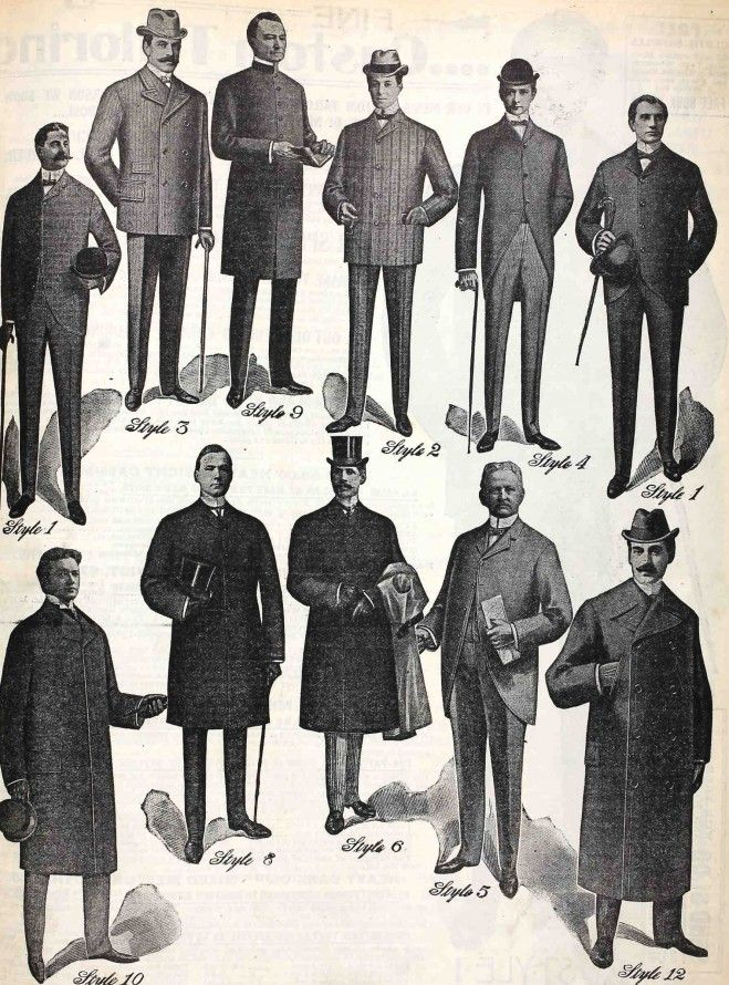 Men's fashion in England around 1900. Hats are in!