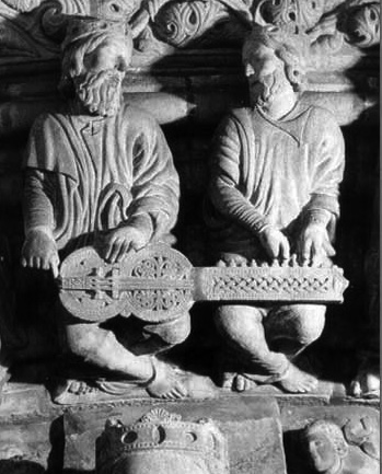 Apocalypse jam session depicted in 12th century cathedral of Santiago de Compostela.