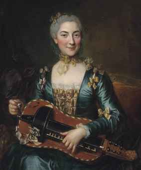 Female aristocrat rocking her vielle à roue. Probably painted by Donatien Nonotte (1708-1785). Link