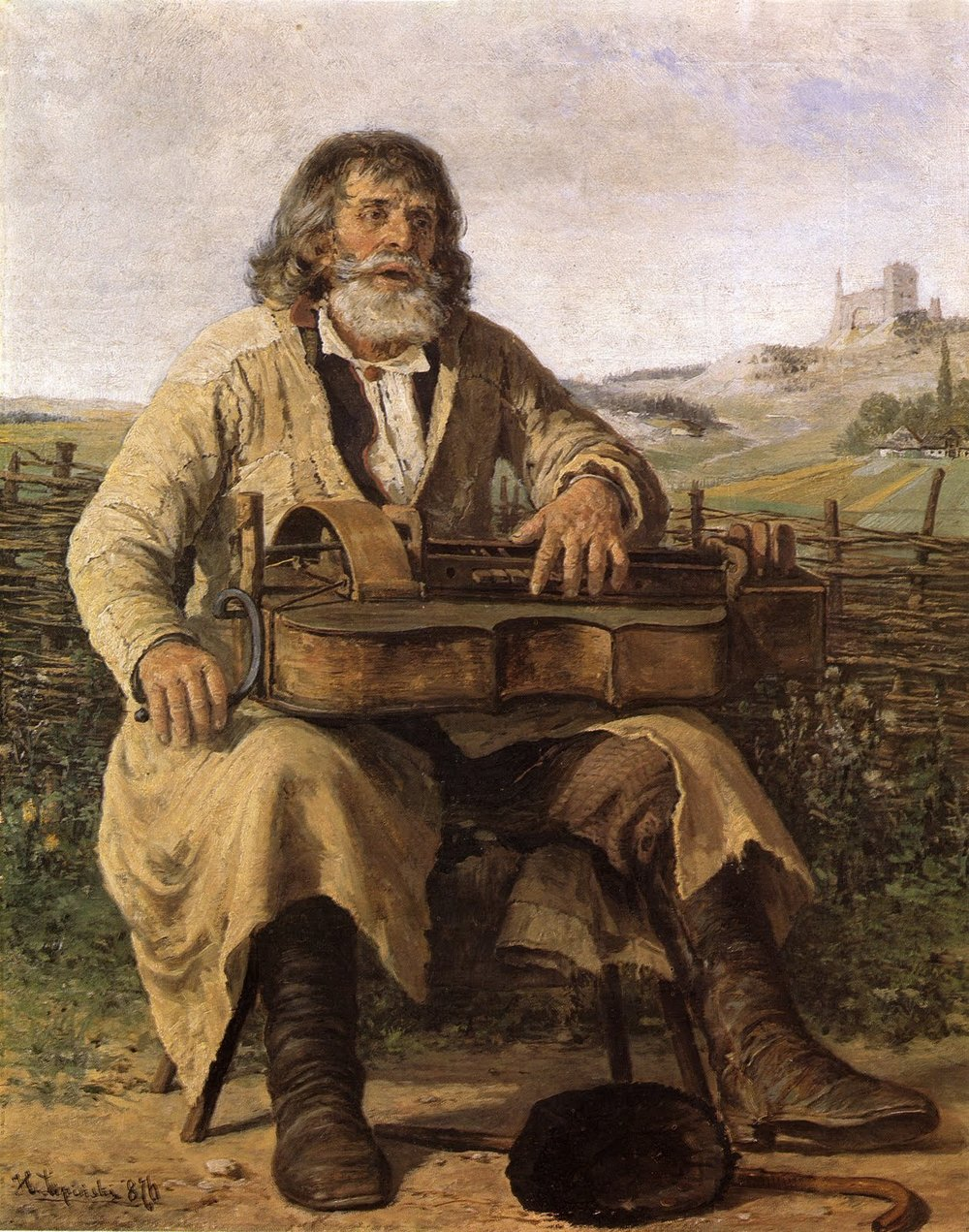 Minstrel  (1876) by Hippolytus Lipinski (d. 1884). I wonder if Müller's mention of growling dogs could possibly have to do with the hurdy-gurdy's buzzing bridge...