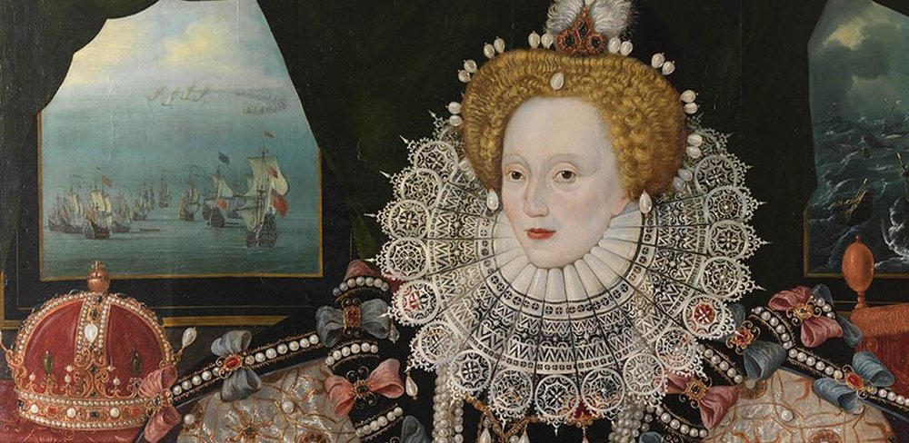 "Detail of Queen Elizabeth I's ""Armada"" Portrait (unknown artist, 1588)."