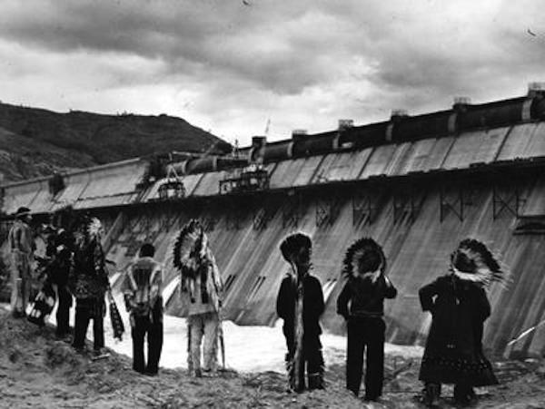 Chiefs witnessing the completion of Colville Dam in 1941 ( source ).