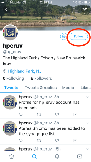Click on the  follow  button to get Eruv alerts.