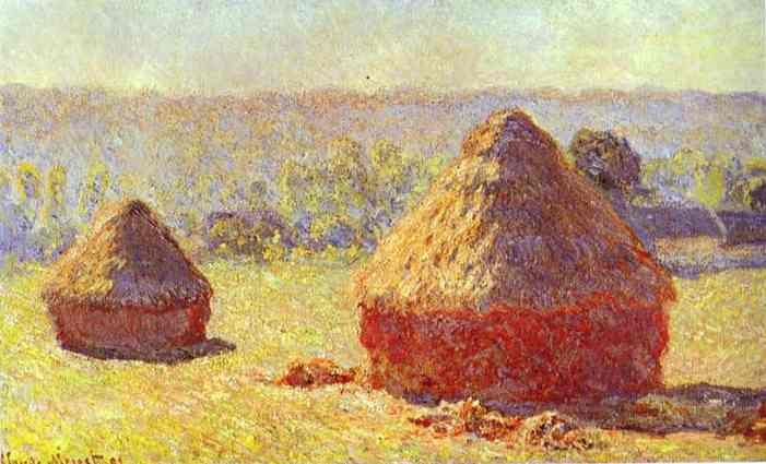 We almost used this painting of haystacks for our first Chardonnay label.