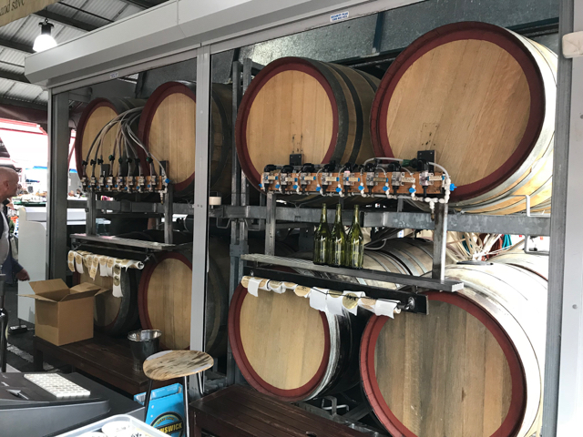 Refilling bottles on site from 16 different barrels of wine.