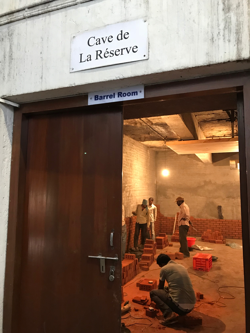 Like so much of India, Grover Zampa's barrel room is under construction.