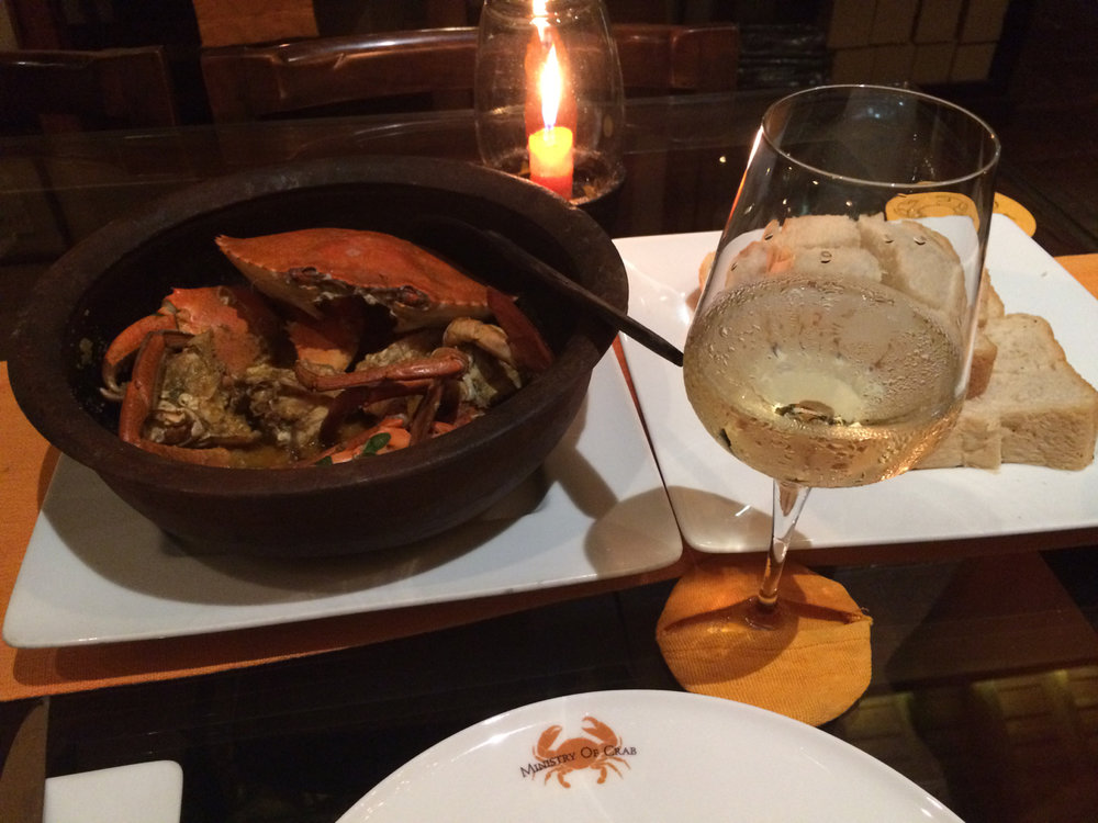"""A simple blend from Alsace (i.e., """"Gentil"""") accompanied this Sri Lankan crab without overwhelming the delicate flavors."""