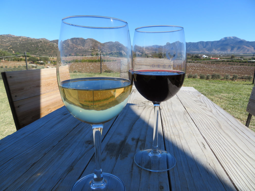 Two glasses of tasty wine (and this view!) will set you back about $10 US at Decantos.
