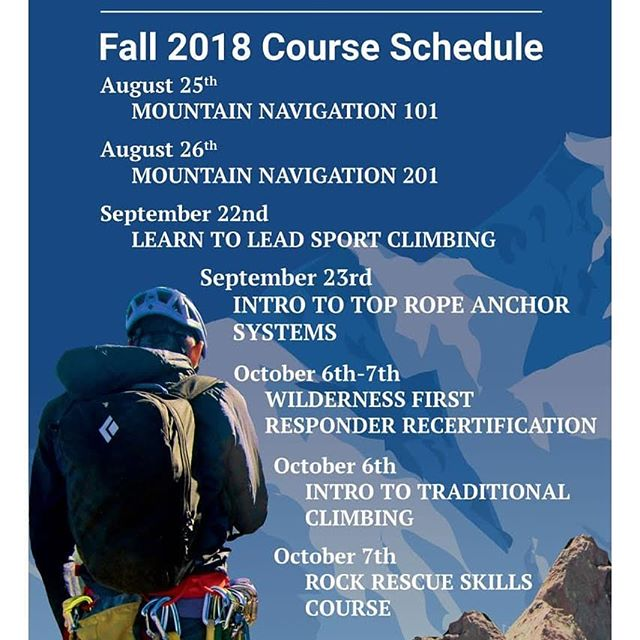 We're excited to announce the BVMA Fall Course schedule. Visit us online or call the office for details or to register. #BVBackcountry #gotherestarthere