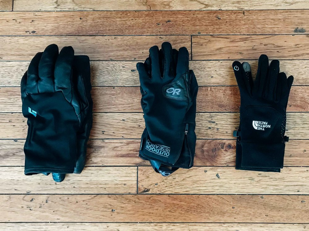 Gloves, Gloves and More Gloves - Cold and wet hands are no fun, for this reason, I generally have at least two sometimes three pairs of gloves in my pack depending on the tour and the conditions