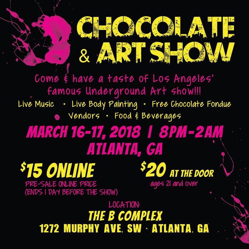 Charles Osawa will be shown at the Chocolate and Art Show, Atlanta, GA 2018