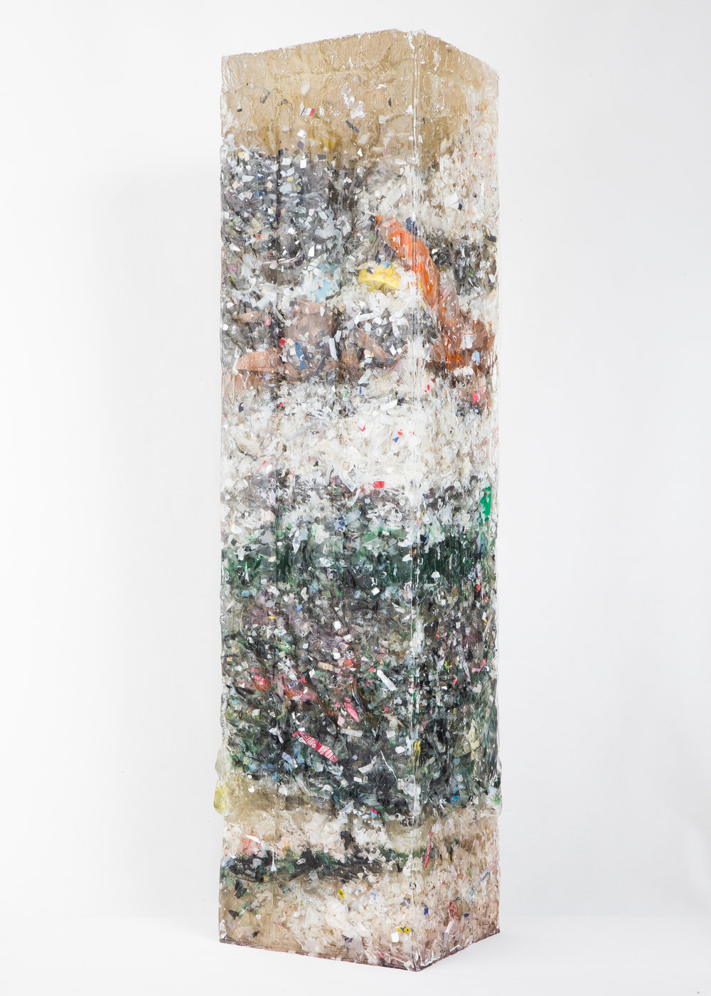 """THRASHER"" - H23.5""xD6""xW4.5"" // Epoxy resin, Trash (plastic bottles, food wrappers, containers, plastic bags, CDs, paint materials, production waste* **)  *(waste created during Charles Osawa's production)  **(Production waste contains broken silicon molds and resin wastes)"