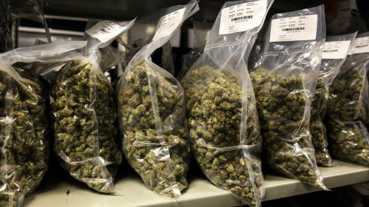 Packages of marijuana are seen on shelf before shipment at the Canopy Growth Corp.  Chris Roussakis | Bloomberg | Getty Images