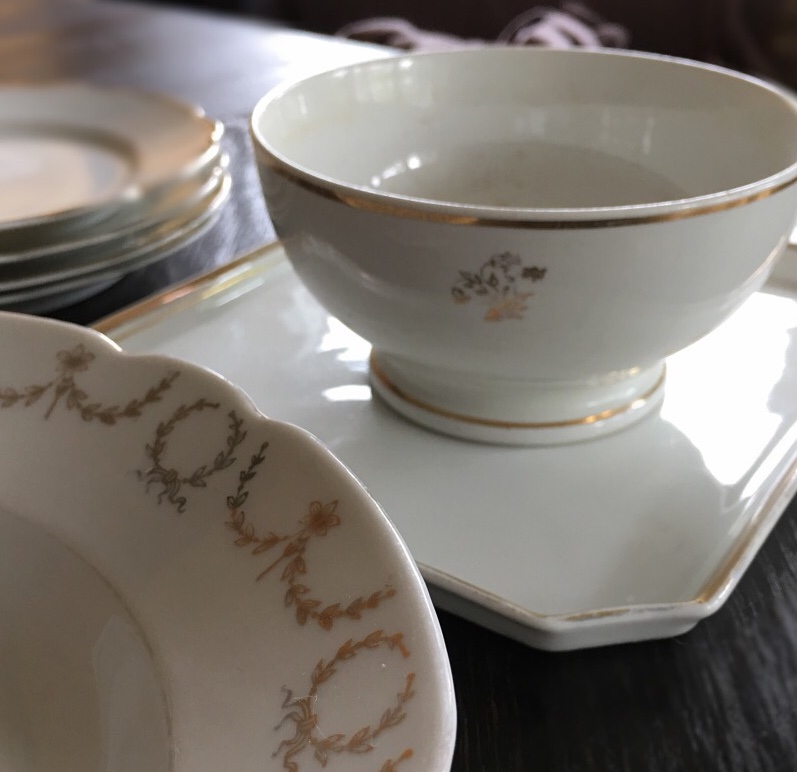 "I have started putting together cream and gold place settings for our future home. It is getting harder to find French ""boules"" or bowls at the brocantes or fleamarkets so when I find one or two, I buy them."