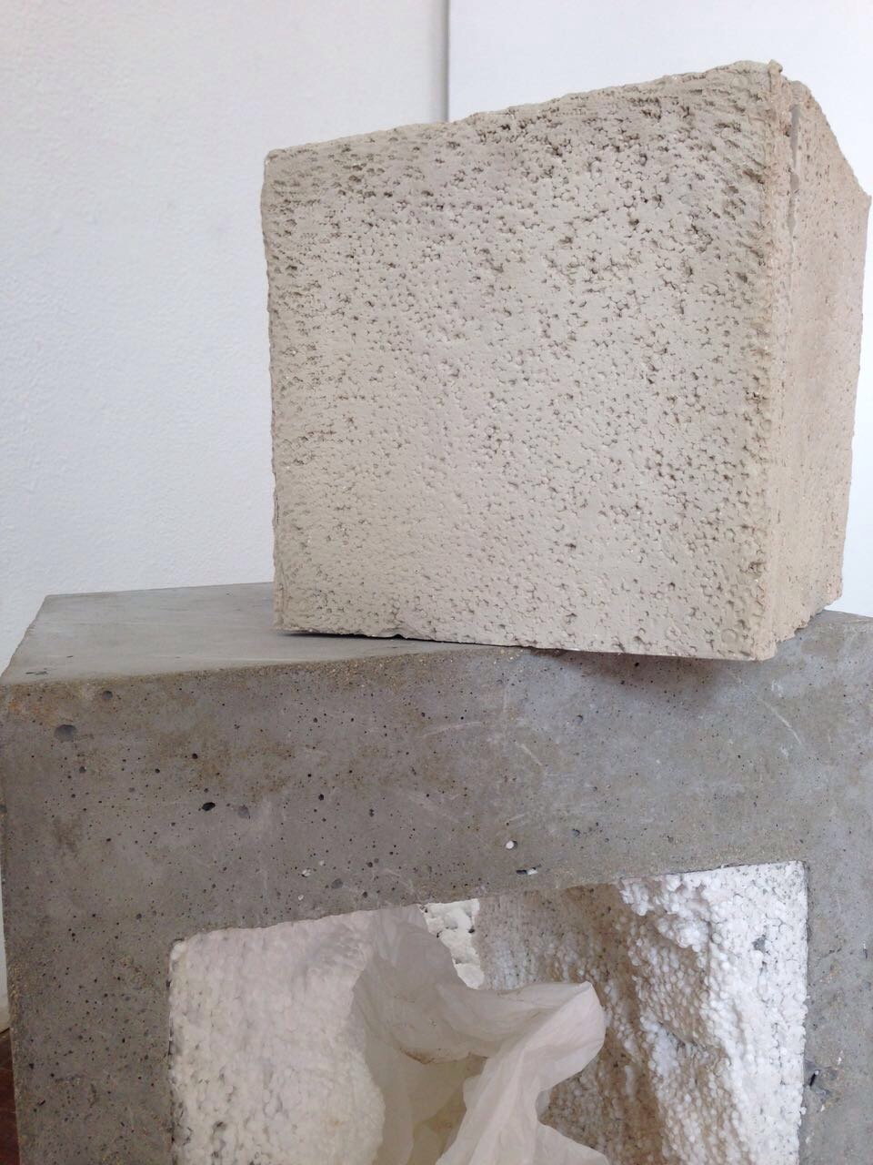 - Not your female artist archetype2016Unfired stoneware clay, concrete block, polystyrene and plastic rubble