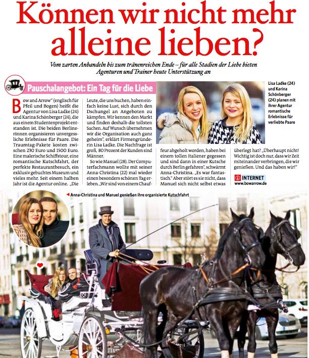 BILD der Frau | Können wir nicht mehr alleine lieben?  28.02.2014 | Zeitungsartikel