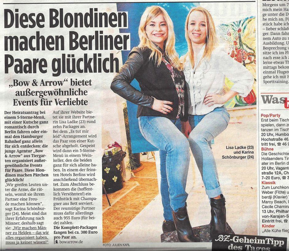 B.Z. | Diese Blondinen machen Berliner Paare glücklich  04.02.2014 | Zeitungsartikel