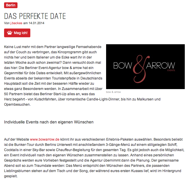 Prinz | Das perfekte Date  14.01.2014 | Online Medien