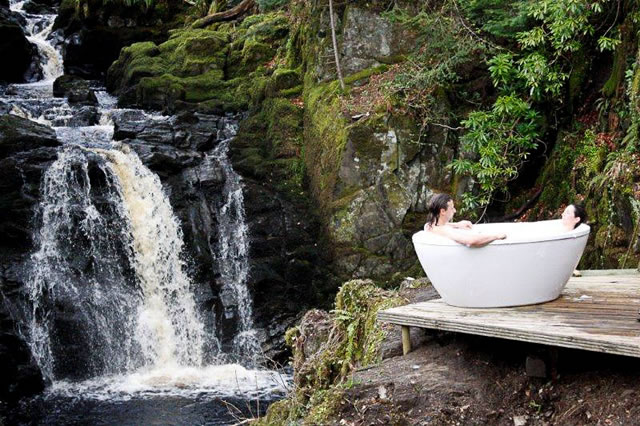 Yoga Explorers yoga retreat in Scotland - private riverside bubble baths