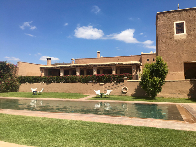 Yoga Explorers yoga holiday Marrakech. One of two pools at this fabulous yoga retreat.