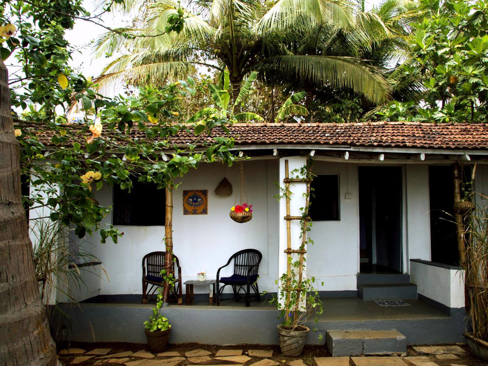 Yoga Explorers yoga retreat in South Goa - traditional Chira cabins