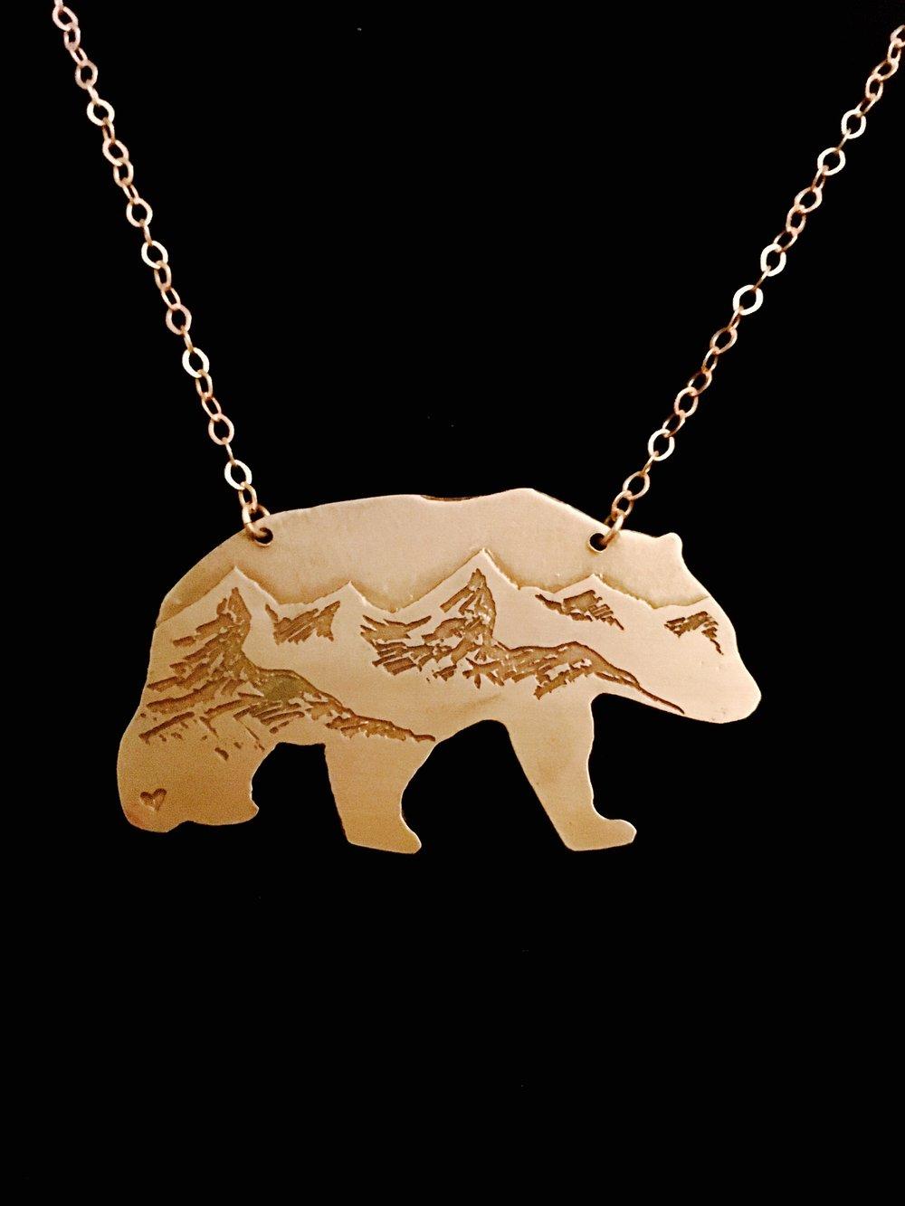 Black Bear Cutout Etched Necklace