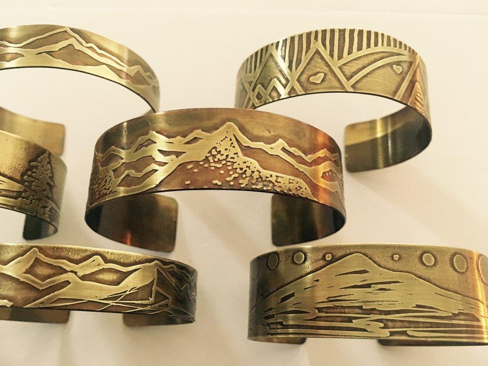 Handmade Etched Landscape Bracelets