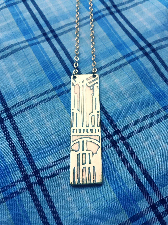 Handmade Etched Multnomah Falls Necklace