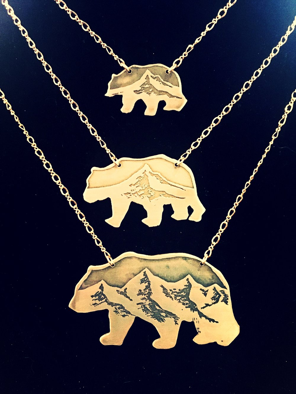 Handmade, Acid Etched Brass Bear Necklaces