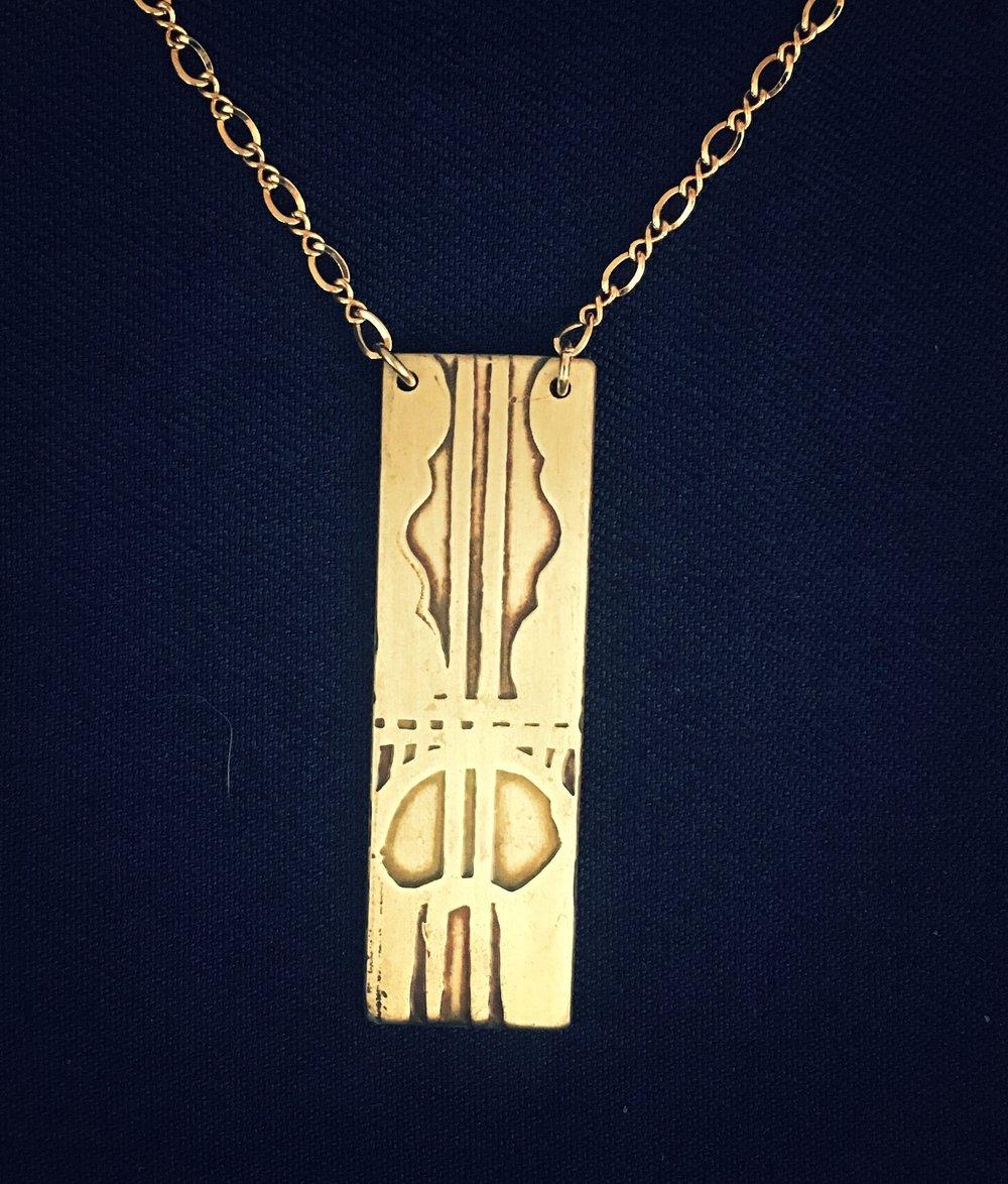 Handmade Acid Etched Multnomah Falls Necklace