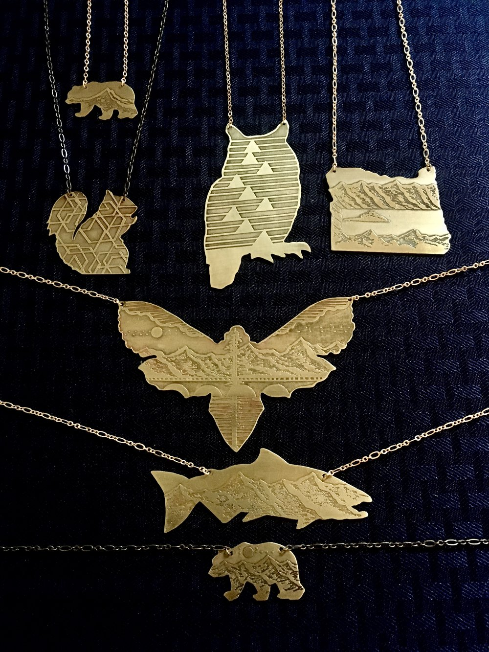 Handcrafted Etched Cutout Necklaces