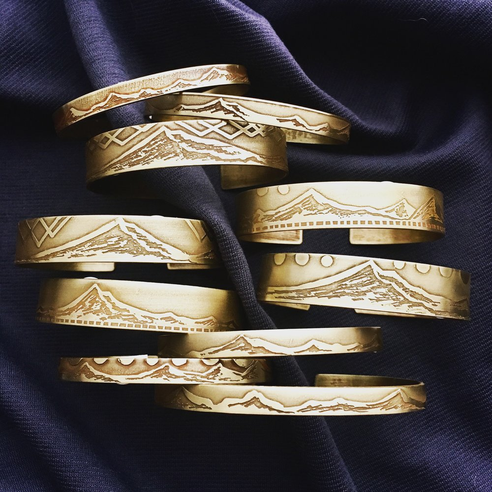 Handcrafted Etched Brass Bracelets