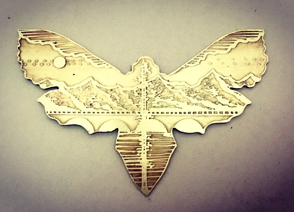 Mountain Moth Cutout Etched Necklace