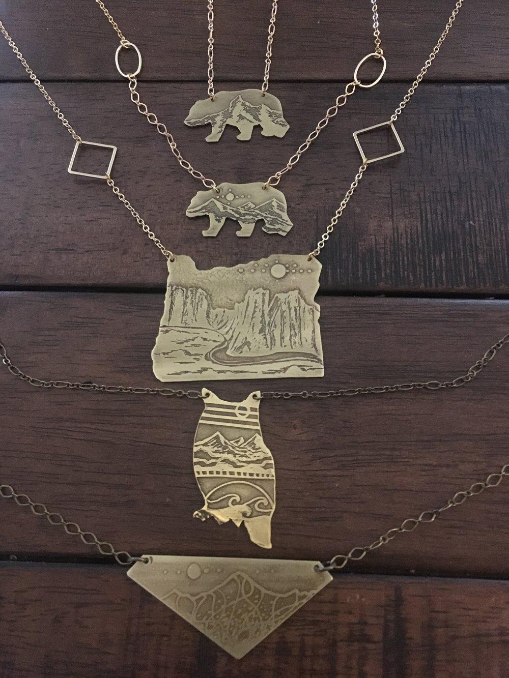 Various Cutout Etched Necklaces