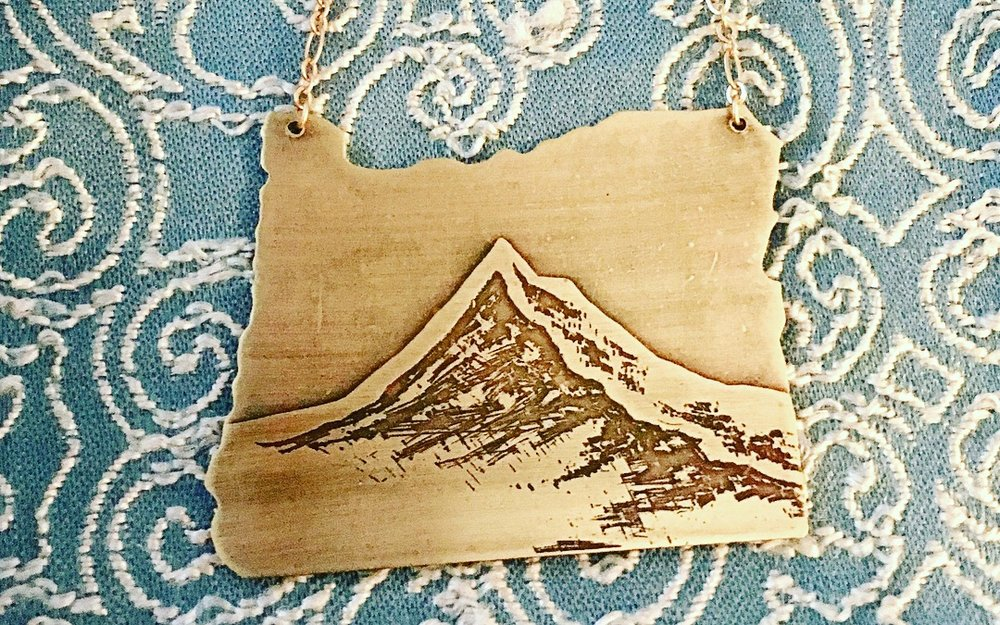 Oregon Cutout Etched Mount Hood Necklace