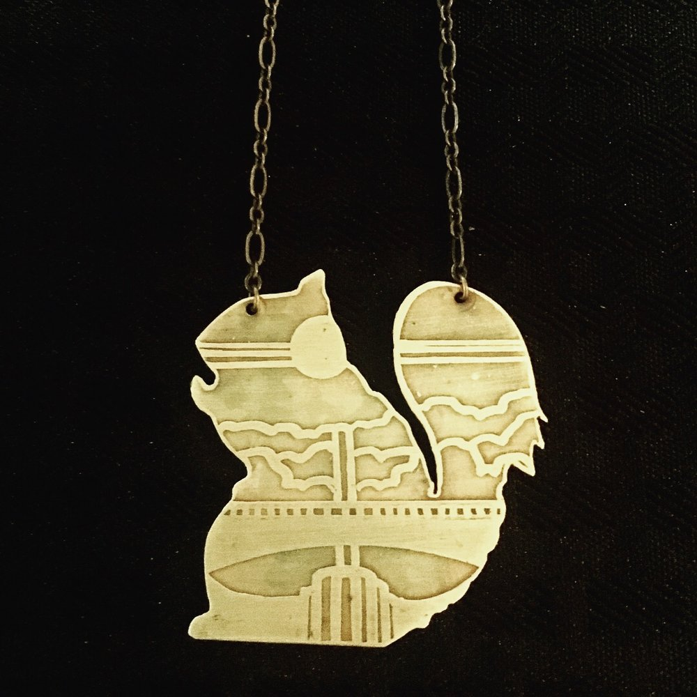 Woodland Squirrel Etched Cutout Necklace