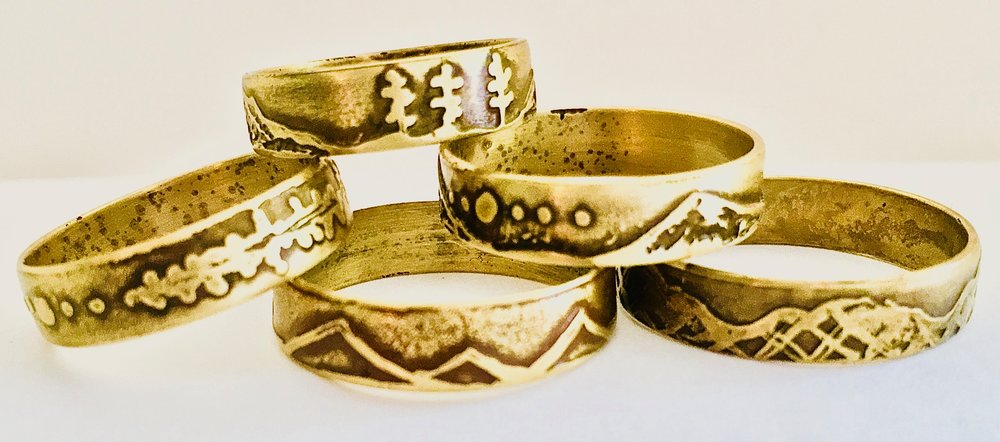 Mountain Range Etched Rings