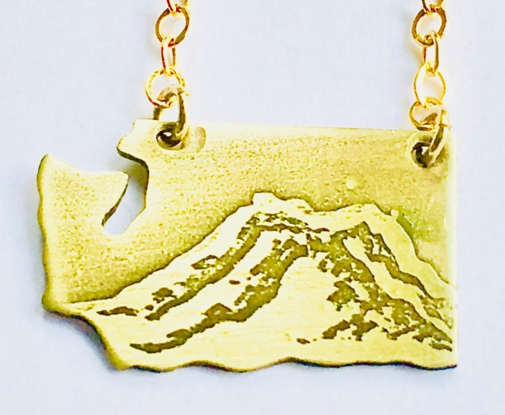 Washington State Cutout Mount Raineer Etched Necklace