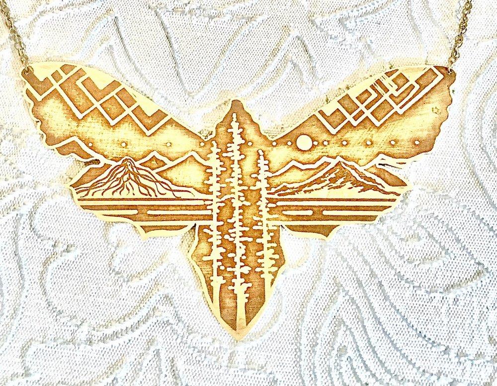 Mountain Moth Cutout Necklace