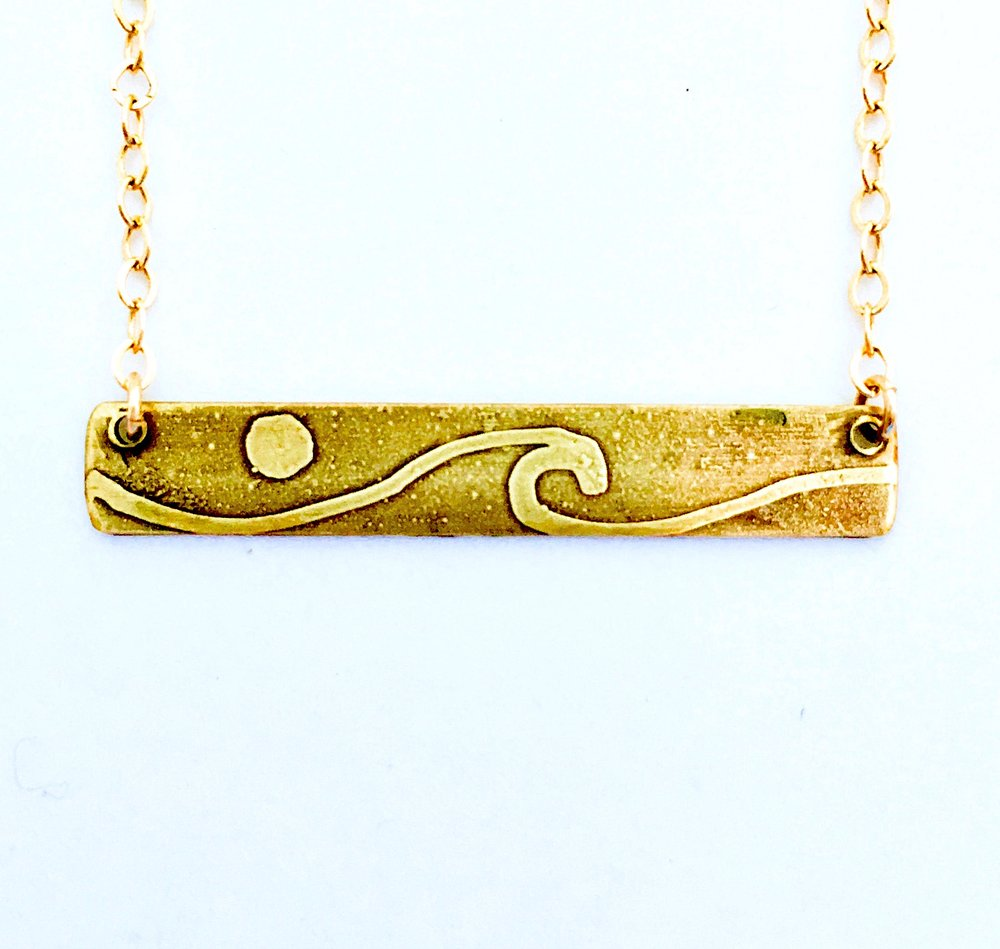 Waves with moon on reverse of bar necklace