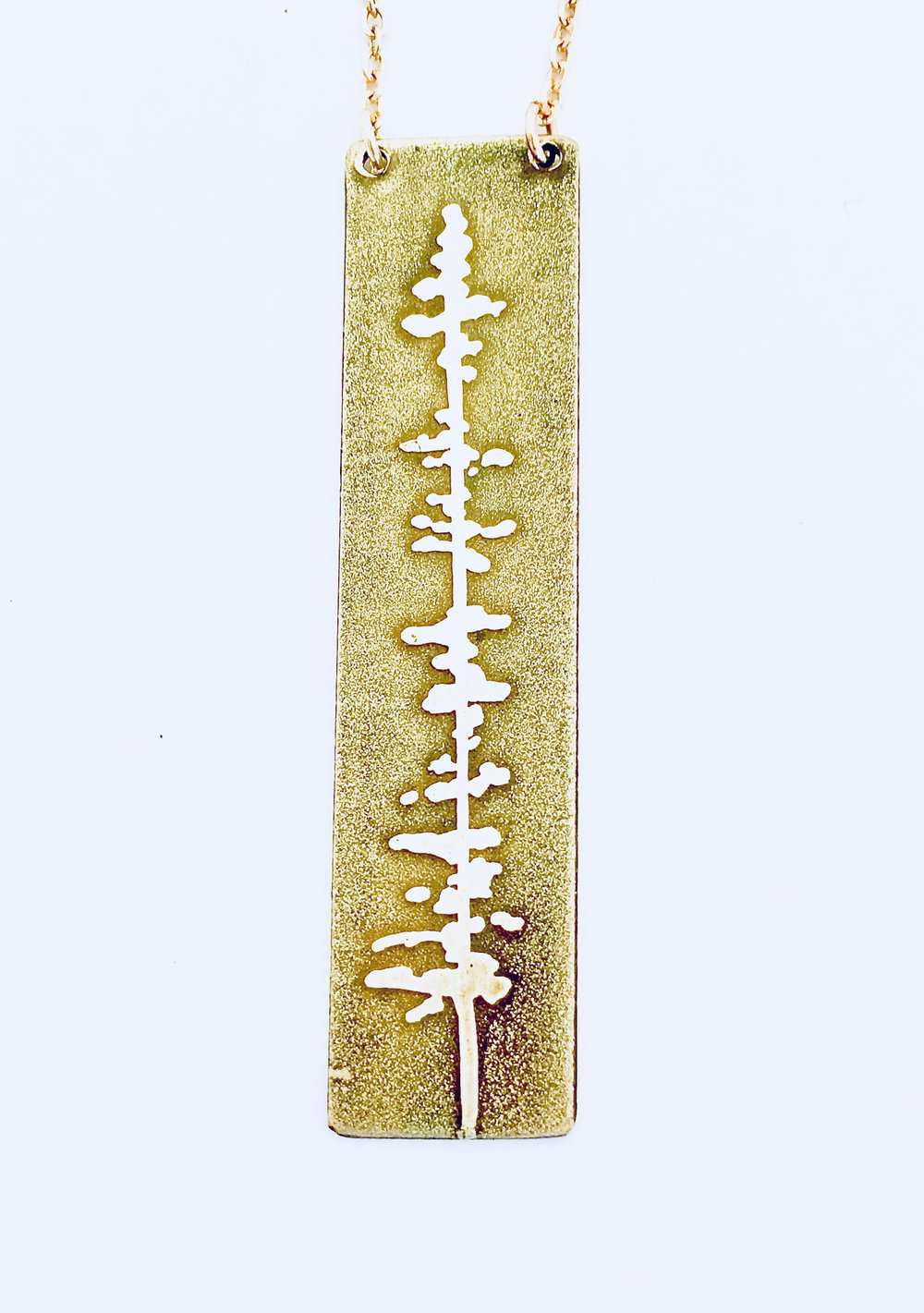Fir Tree Reverse Side of Multnomah Falls Necklace