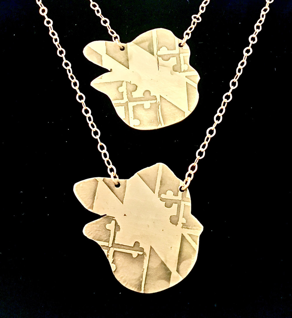 Baltimore Oriole Bird Etched Cutout NecklaceReverse Side