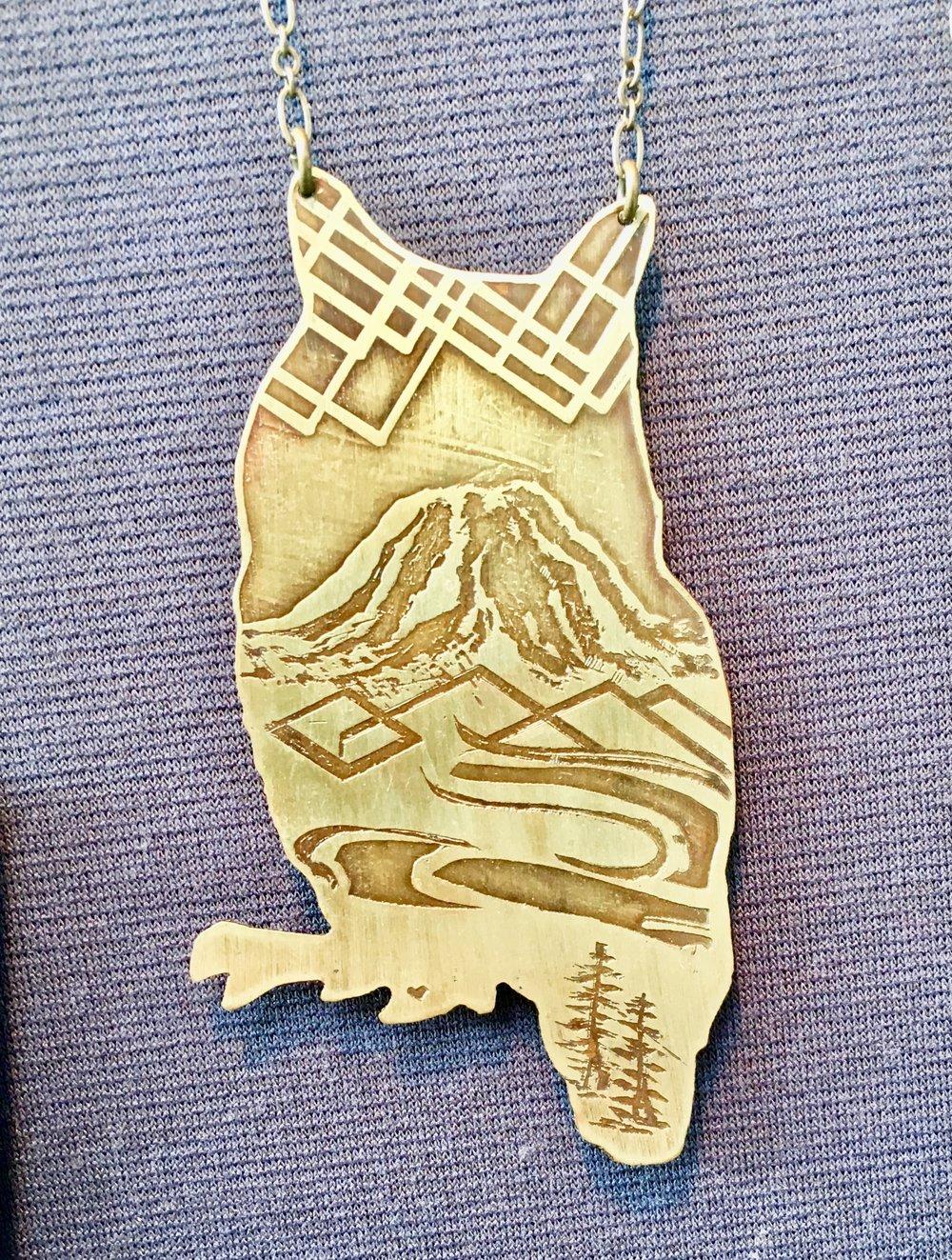 Owl Cutout Necklace w/ Mount Rainier