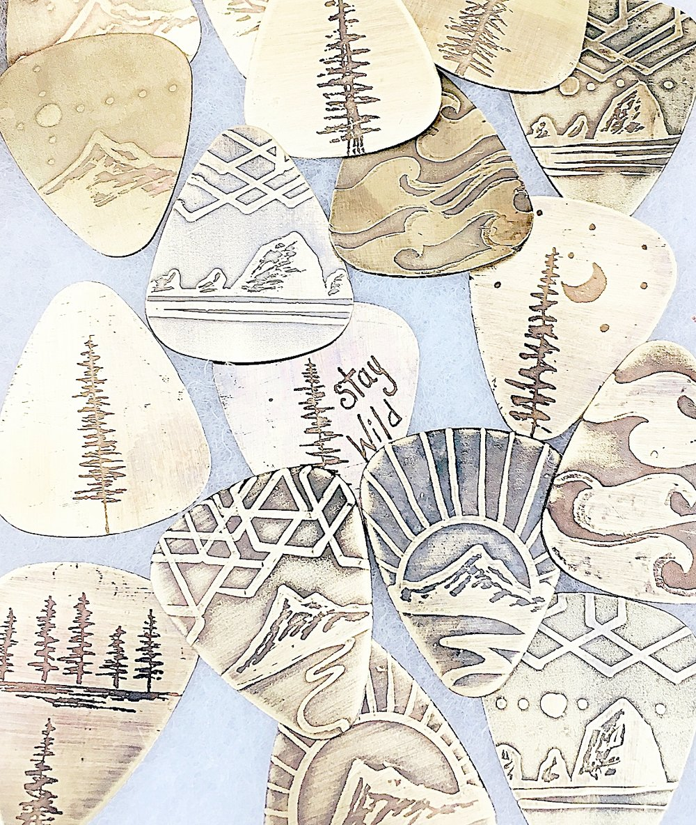 Guitar Picks Handcrafted and Hand Drawn and Acid Etched