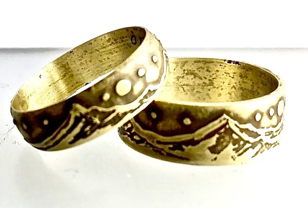 Two Hand Drawn and Acid Etched Mountain Range Brass Rings