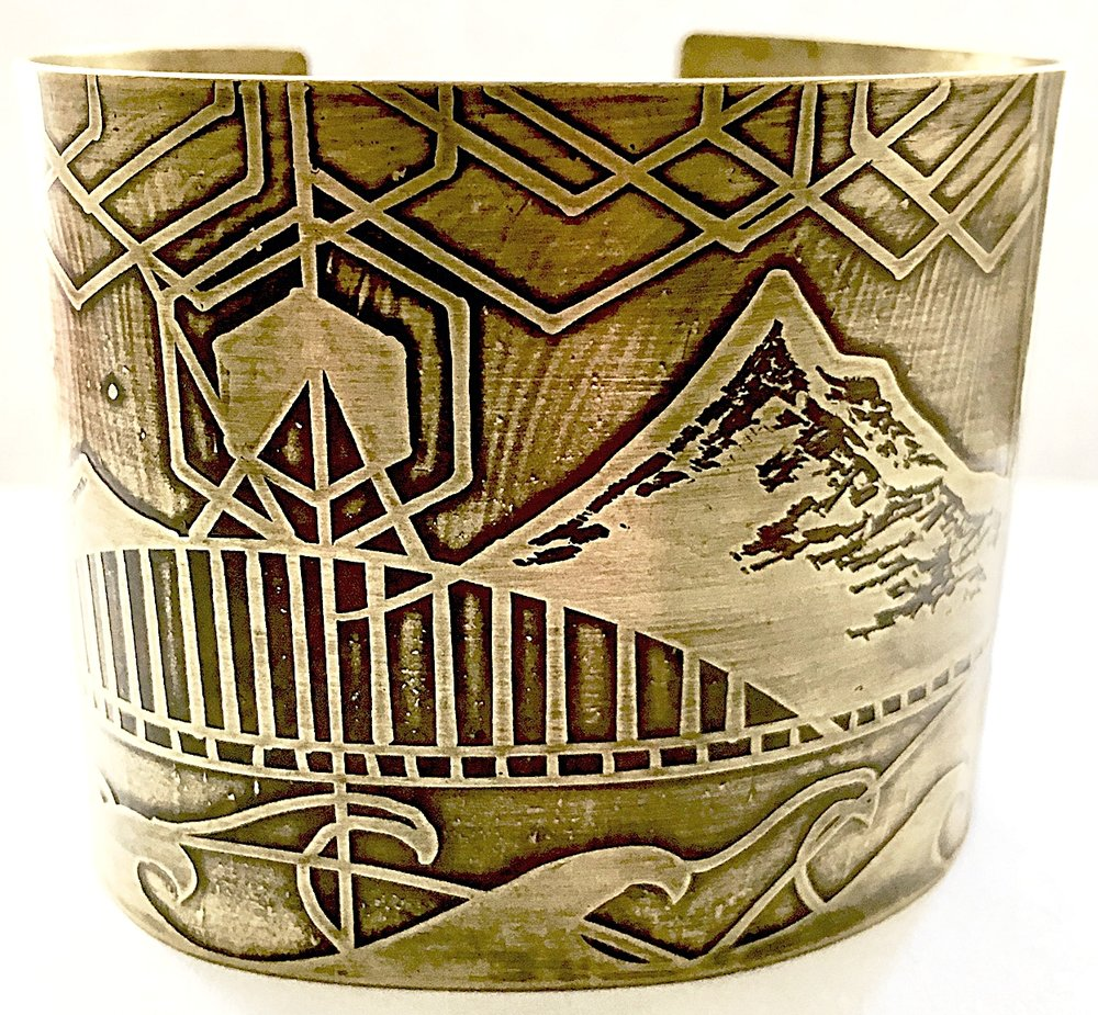 Handmade, Hand Drawn, Acid Etched, Mount Hood Extra Large Cuff Bracelet