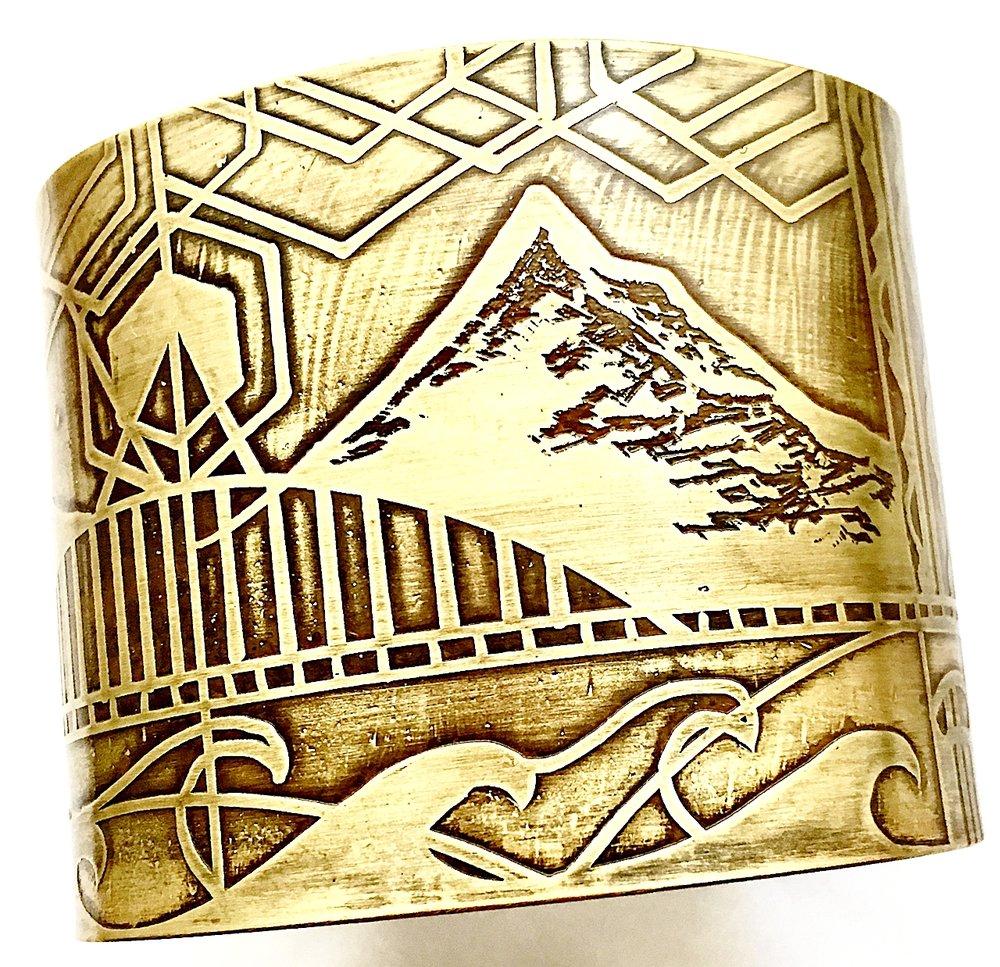 Handmade, hand draw, acid etched, Mount Hood Extra Large Cuff Bracelet